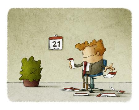 Empresario arrancar hojas de un calendario mientras espera Foto de archivo - 75224158