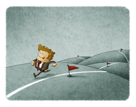 Businessman runs along a line reaching his achievements