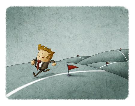 El hombre de negocios corre a lo largo de una línea que alcanza sus logros Foto de archivo - 75372891