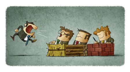Metáfora de la historia de los tres pequeños cerdos en los negocios Foto de archivo - 76562785