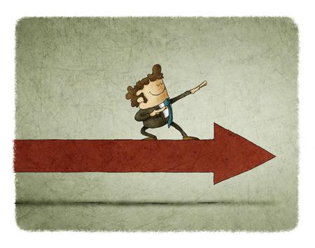 Businessman on an arrow moving forward