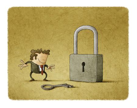 Hombre de negocios con una llave y un candado. Es una metáfora para encontrar una solución o una metáfora de seguridad. Foto de archivo - 77034487