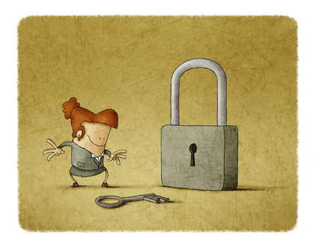 Businesswoman with a key and a padlock. It is a metaphor to find a solution or  a security metaphor.