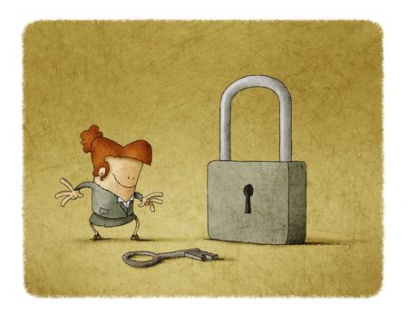 Empresaria con una llave y un candado. Es una metáfora para encontrar una solución o una metáfora de seguridad. Foto de archivo - 77157901