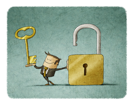 Businessman with a key  in a hand and an opend padlock. It is a metaphor to find a solution or a security metaphor. Foto de archivo
