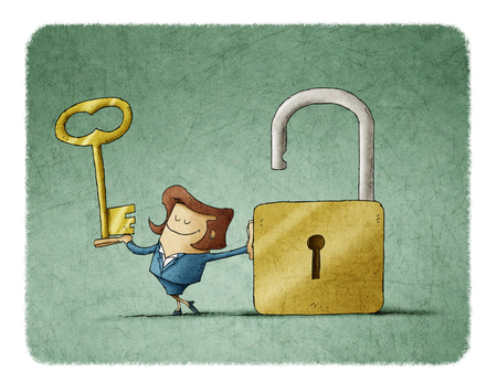 Businesswoman with a key  in a hand and an opend padlock. It is a metaphor to find a solution or a security metaphor.