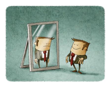 Feliz hombre de negocios delante de un espejo donde se ve reflejada triste Foto de archivo - 77878752