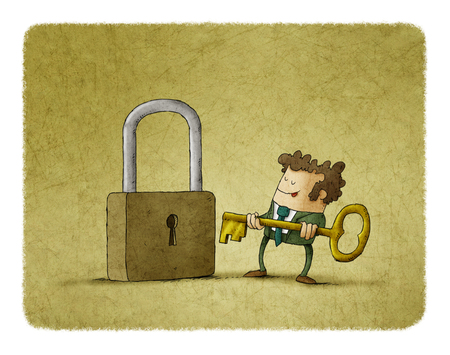 metal drawing: Business man in front of a huge padlock tries to insert a key