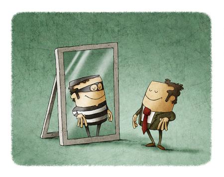 Hombre de negocios se ha reflejado como un ladrón en un espejo Foto de archivo - 77828480