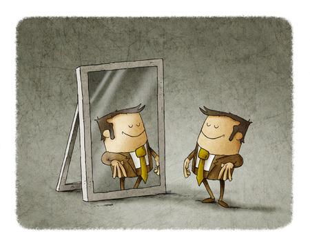 Ilustración del hombre de negocios ver a sí mismo ser exitoso en un espejo