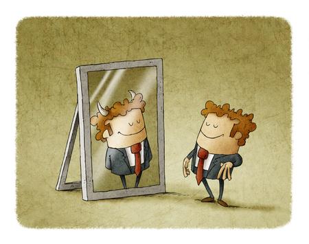 Zakenman is weerspiegeld als een duivel in een spiegel