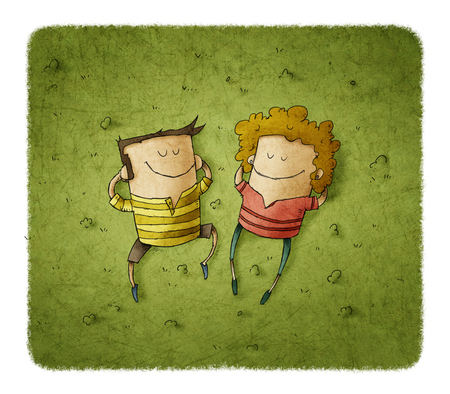 Illustration of happy couple lying on green grass with smiles Stock Photo