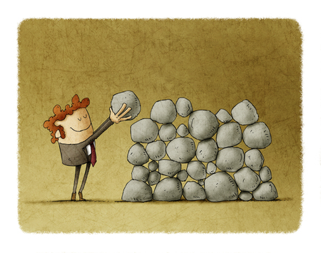 difficulties: Businessman puts a stone on top of others, metaphor of effort and success in business. Stock Photo