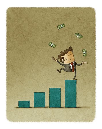 Empresario haciendo malabares con dinero recaudado en la parte superior de un gráfico de barras Foto de archivo - 78977473