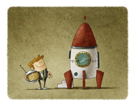 ロケットの横にある起業家が彼の手でヘルメットを待っています。