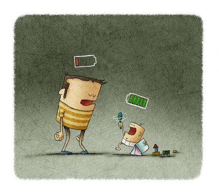 Cansado padre y el bebé jugando con las baterías sobre la cabeza