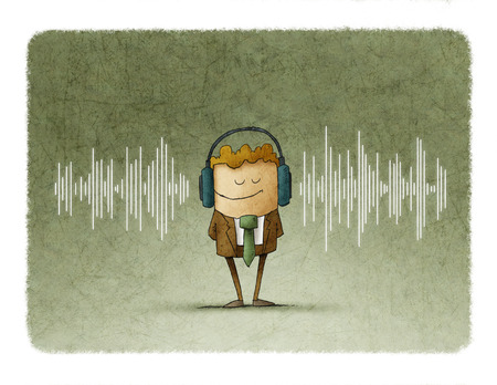 Illustration of a sound wave and in the middle of this there is a man with a headphones Foto de archivo
