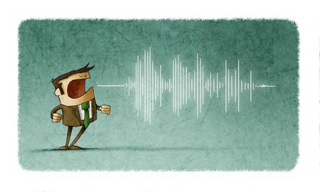 Illustration of a man screaming or speaking and wave of sound coming out of his mouth