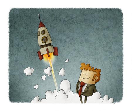 Empresario de éxito con lanzamiento de cohete Foto de archivo - 80257724