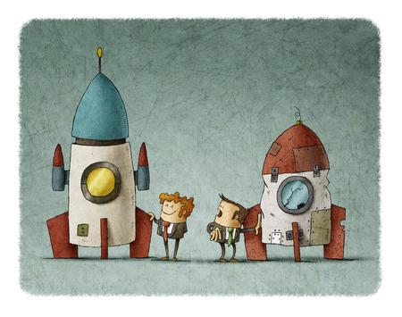 Hombre de negocios junto a un cohete espacial y otro hombre de negocios lo mira porque su cohete es peor Foto de archivo - 80769846