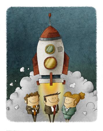 Team van zakenmensen bij een lancering van een ruimte raket Stockfoto