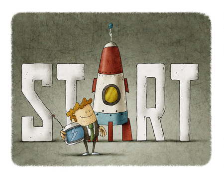 Zakenman met het woord start en een raket Stockfoto