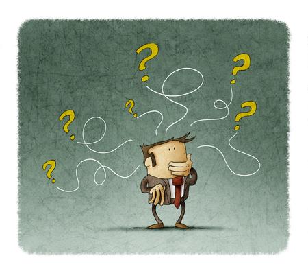 El hombre está pensando mientras algunas preguntas salen de su cabeza Foto de archivo - 81114037