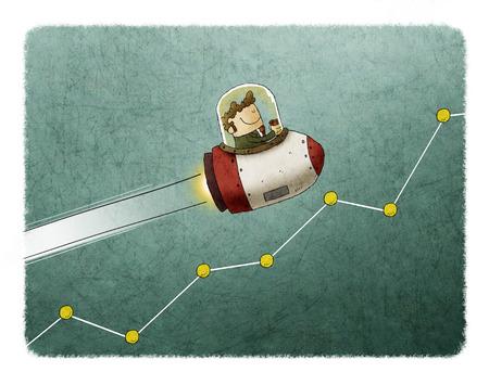 ロケットと市場のグラフ上の飛行中のビジネスマン