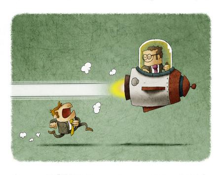 Competencia entre empresarios, uno va dentro de un cohete y otro va corriendo. ventaja competitiva Foto de archivo - 81360764