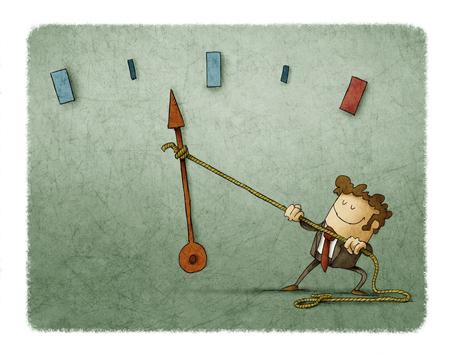Hombre de negocios con una cuerda atada a la aguja de un medidor de velocidad desde el que está tirando Foto de archivo - 81391696