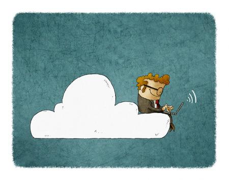 El hombre de negocios se sienta en una nube con el ordenador portátil en sus rodillas. Ilustración de la creación de redes en la nube. Foto de archivo - 81616105