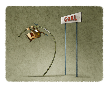 Businessman doing pole vaulting for jumping the goal.