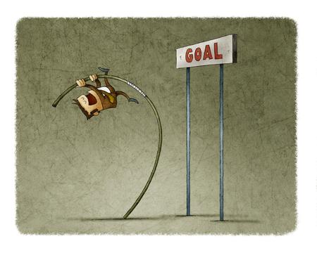 Hombre de negocios haciendo salto de pértiga para saltar la meta. Foto de archivo - 81610955