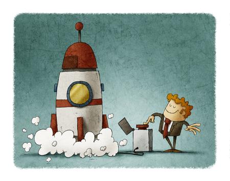 Businessman next to a rocket presses the launch button. Business concept. Foto de archivo