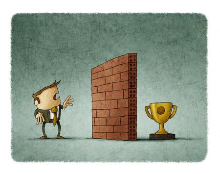 Hombre de negocios delante de una pared de ladrillo tiene dificultad para alcanzar su objetivo Foto de archivo - 83364178