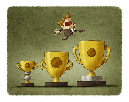 Zakenman springt van trofee tot trofee, elke keer naar een groter Stockfoto