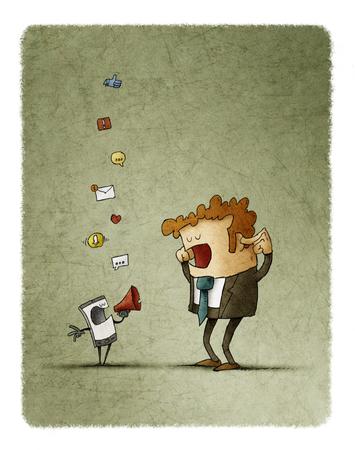 El hombre se tapa los oídos mientras su teléfono celular lo notifica a través de un megáfono Foto de archivo - 85805368