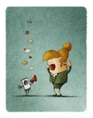 vrouw bedekt zijn oren terwijl zijn mobiele telefoon hem via een megafoon meedeelt