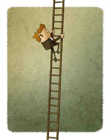 Hombre de negocios subiendo por una escalera Foto de archivo - 86951481