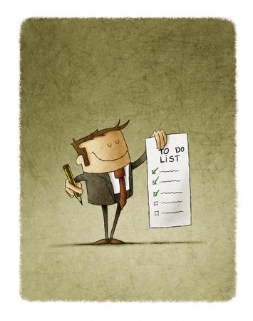 Hombre de negocios tiene en su mano una lista de cosas por hacer y en la otra mano un lápiz Foto de archivo - 89777531