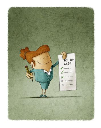 Empresaria tiene en su mano una lista de tareas y en la otra mano un lápiz Foto de archivo - 89777530