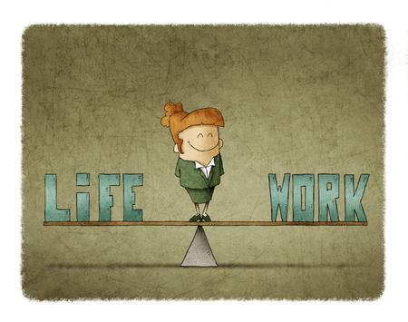 Empresaria en una escala en la que son las palabras trabajo y vida