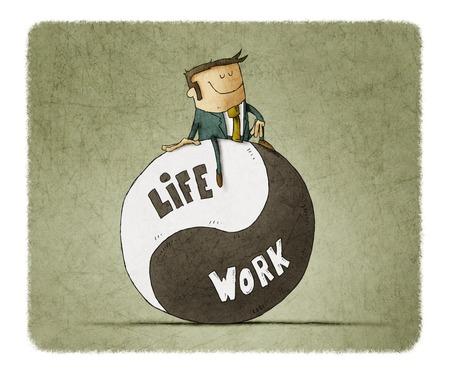 Concept over evenwichtswerk en leven. Life coach geeft advies over werk-privébalans. Stockfoto