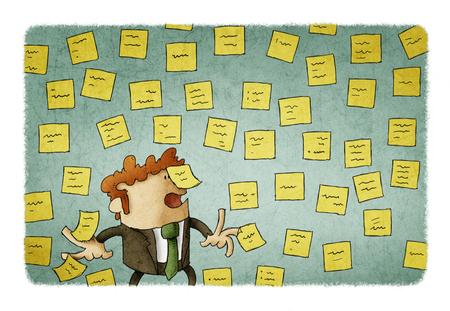 Ilustración del hombre de negocios con la pared llena de notas de recordatorio, concepto de mucho trabajo. Foto de archivo
