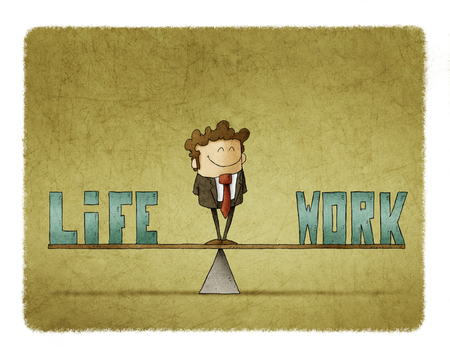 businessman on a scale in which are the words work and life