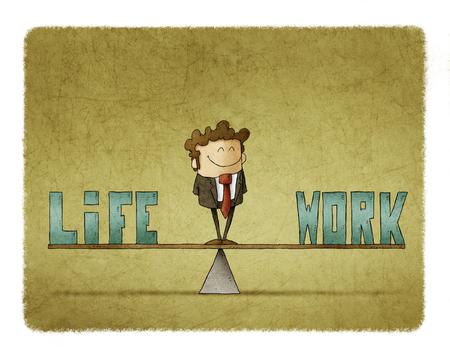 Empresario en una escala en la que son las palabras trabajo y vida Foto de archivo - 87769187