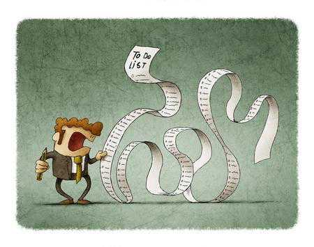 Hombre en un traje, hombre de negocios o gerente, mantenga una larga lista o desplazamiento de tareas. Foto de archivo - 88001602