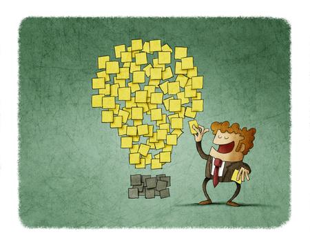 El hombre de negocios pega una nota al lado de otros que tienen forma de idea. concepto de creatividad