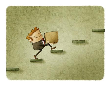 箱を持ったビジネスマンは、いくつかのステップを登っています。成功への上昇の概念