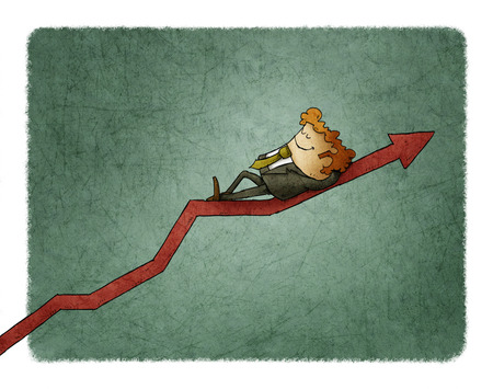 Relaxed smiling businessman lying on a graph going up. Concept of success 스톡 콘텐츠